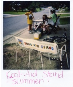 Running a Kool-Aid stand (a drink I never liked) in the Summer of about 1990, with my early 'team' of neighbours. I thought I was so clever with my understanding of maths when I created an offer: 1 drink for 10 cents, or 2 for only 20 cents!